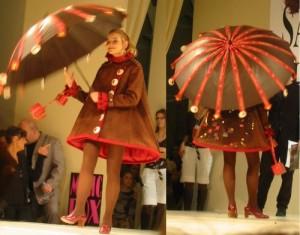 Mantel und Schirm aus Schokolade