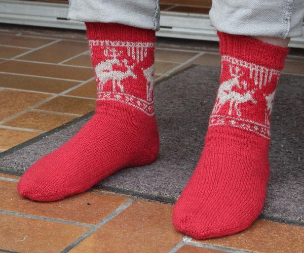 Socken mit Norwegermuster