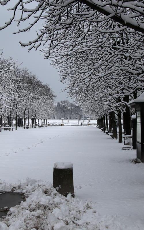 Jardin Luxembourg in Schnee