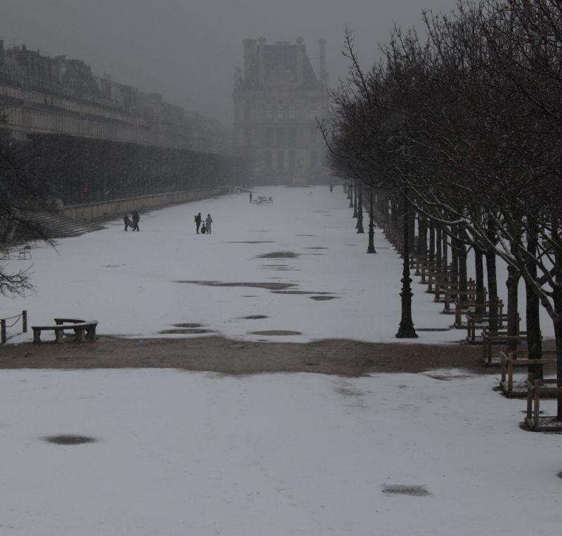 Jarding des Tuilleries im Schnee
