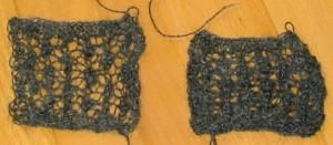 Maschenprobe im Lace Muster