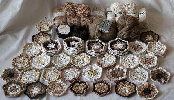 Wolle und gehäkelte Hexagons