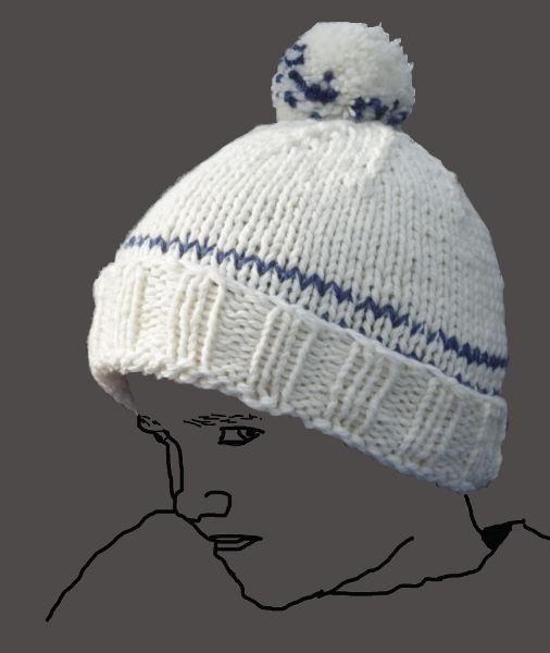 helle Mütze mit Bommel