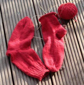 Rote Alpaka Socken